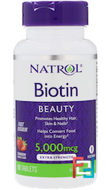Natrol, Biotin, Strawberry Flavor, 5000 mcg, 90 Tablets