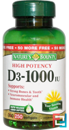D3, High Potency, 1000 IU, Nature's Bounty, 250 Rapid Release Softgels