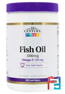Fish Oil, Omega-3, 21st Century, 1000 mg, 300 Softgels