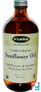 Certified Organic Sunflower Oil, Flora, 17 fl oz (500 ml)