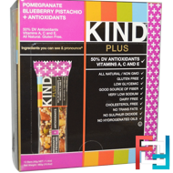 Plus Bars, Pomegranate Blueberry Pistachio + Antioxidants, KIND Bars, 12 Bars, 1.4 oz (40 g) Each