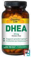 DHEA, Country Life, 25 mg, 90 Vegetarian Capsules