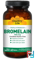 Bromelain, Triple Strength, Country Life, 500 mg, 60 Tablets