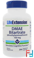 DMAE Bitartrate, 150 mg, Life Extension, 200 Veggie Caps
