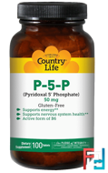 P-5-P (Pyridoxal 5' Phosphate), Country Life, 50 mg, 100 Tablets