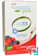 Pure, Extra Strength Drink Mix, Mixed Berries Flavor, SlimQuick, 26 Packets