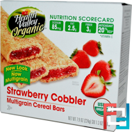 Organic Multigrain Cereal Bars, Strawberry Cobbler, Health Valley, 6 Bars, 37 g Each
