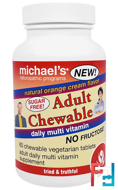 Adult Chewable Daily Multi Vitamin, Natural Orange Cream Flavor, Michael's Naturopathic, 60 Chewable Vegan Wafers