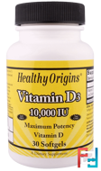Vitamin D3, 10,000 IU, Healthy Origins, 30 Softgels