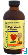 Multi Vitamin & Mineral, Natural Orange/Mango Flavor, Essentials, ChildLife, 8 fl oz, 237 ml