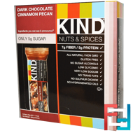 Nuts & Spices, Dark Chocolate Cinnamon Pecan, KIND Bars, 12 Bars, 1.4 oz (40 g)