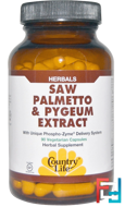 Saw Palmetto & Pygeum Extract, Country Life, 90 Vegetarian Capsules