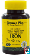 Iron, Nature's Plus, 40 mg, 180 Tablets
