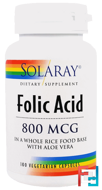 Folic Acid, 800 mcg, Solaray, 100 Veggie Caps