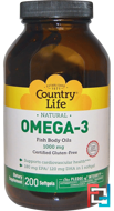 Omega-3, 1000 mg, Country Life, 200 Softgels