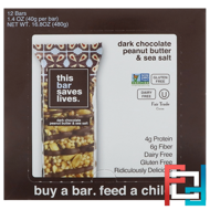 Dark Chocolate Peanut Butter & Sea Salt, This Bar Saves Lives, LLC, 12 Bars, 1.4 oz (40 g) Each