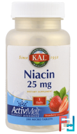 Niacin, Strawberry, KAL, 25 mg , 200 Micro Tablets