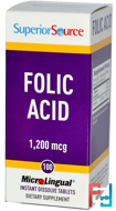 Folic Acid, 1,200 mcg, Superior Source, 100 MicroLingual Instant Dissolve Tablets
