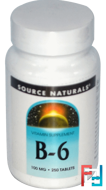 B-6, 100 mg, Source Naturals, 250 Tablets