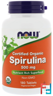 Certified Organic Spirulina, Now Foods, 500 mg, 180 Tablets