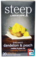 Steep, Organic Dandelion & Peach, Rooibos & Green Tea, Bigelow, 20 Tea Bags, 1.18 oz, 33 g