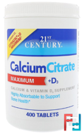 Calcium Citrate Maximum + D3, 21st Century, 400 Tablets