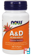 A&D, Essential Nutrition, 10,000/400 IU, Now Foods, 100 Softgels