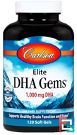 Elite DHA Gems, Carlson Labs, 1,000 mg, 120 Softgels