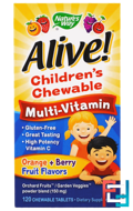 Alive! Children's Chewable Multi-Vitamin, Orange, Berry Fruit Flavors, Nature's Way, 120 Chewable Tablets