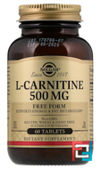 L-Carnitine, Solgar, 500 mg, 60 tablets