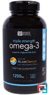 Omega-3,Triple Strength, 1250 mg, Sports Research, 180 Softgels