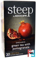 Steep, Organic Green Tea with Pomegranate, 20 Tea Bags, Bigelow, 1.28 oz, 36 g