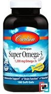Super Omega-3 Gems, Fish Oil Concentrate, Carlson Labs, 1,000 mg, 180 Soft Gels