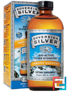 Colloidal Bio-Active Silver Hydrosol, 10 PPM, Sovereign Silver, 16 fl oz (473 ml)