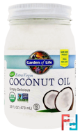 Raw Extra Virgin Coconut Oil, Garden of Life, 16 fl oz (473 ml)