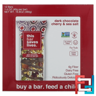 Dark Chocolate Cherry & Sea Salt, This Bar Saves Lives, LLC, 12 Bars, 16.8 oz (480 g)
