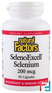 SelenoExcell, Selenium, Natural Factors, 200 mcg, 90 Capsules