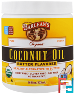 Organic Coconut Oil, Butter Flavored, Barlean's, 16 fl oz, 473 ml
