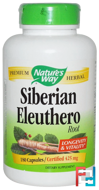Siberian Eleuthero, Root, Nature's Way, 425 mg, 180 Capsules