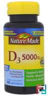 D3, Ultra Strength, Nature Made, 5000 IU, 90 Softgels