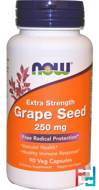 Grape Seed, Extra Strength, Now Foods, 250 mg, 90 Veg Capsules