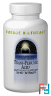 Trans-Ferulic Acid, 250 mg, Source Naturals, 60 Tablets