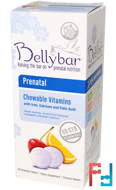Prenatal Chewable Vitamins, Mixed Fruit Flavor, Bellybar, 60 Chewable Tablets