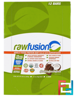 Whole Foods Protein Bar, Chocolate Coconut Chunk, Raw Fusion, 12 Bars, 2.5 oz (70 g) Each