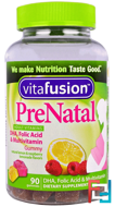 PreNatal, DHA, Folic Acid & Multivitamin, VitaFusion, 90 Gummies