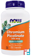 Chromium Picolinate, 200 mcg, Now Foods, 250 Capsules