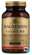 Magnesium, with Vitamin B6, Solgar, 250 Tablets