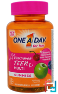 One A Day for Her, VitaCraves, Teen Multi, One-A-Day, 60 Gummies