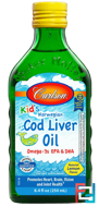 Kid's, Norwegian Cod Liver Oil, Natural Lemon Flavor, Carlson Labs, 8.4 fl oz (250 ml)