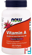 Vitamin A, 25,000 IU, Now Foods, 250 Softgels